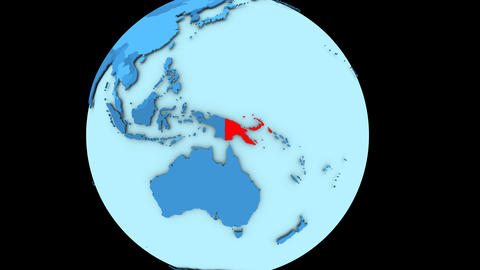 Papua New Guinea on blue planet Animation