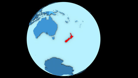 New Zealand on blue planet Animation