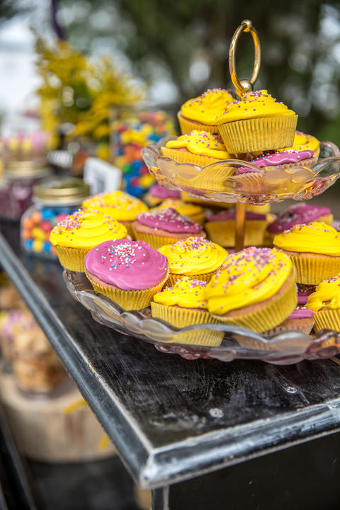 colorful cupcakes frosted with a variety of frosting flavors フォト