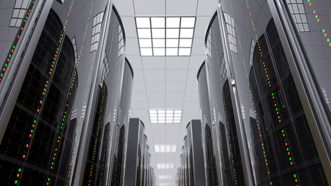 Moving slow between server racks in datacenter Animation