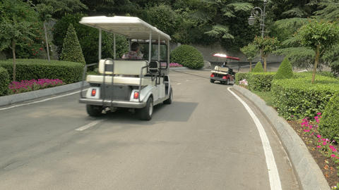 Golf Carts Driving Down A Road GIF