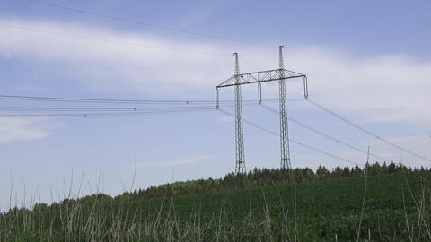 Large view on the powerlines on the field. High voltage…, Live Action