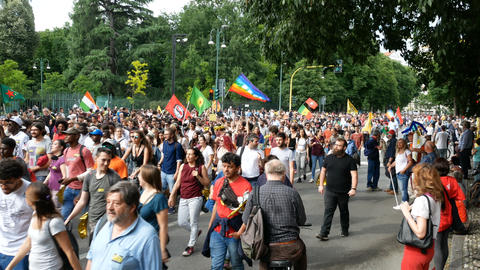 Thousands of people take part to demonstration in Milan, Italy Live Action
