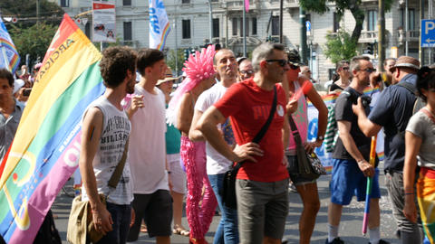 People attend Milano pride parade Footage