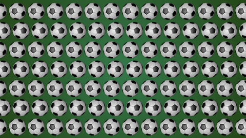 Football rolling balls for soccer green background pattern Animation