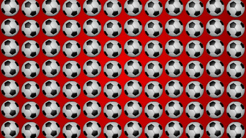 Football rolling balls for soccer red background pattern Animation