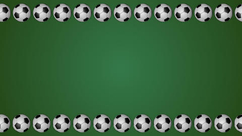 Football balls rolling frame border screen soccer green background Animation