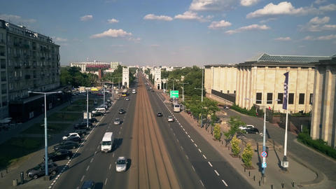 WARSAW, POLAND - JULY 5, 2018. Aerial view of Aleje Jerozolimskie street and GIF