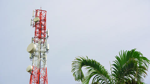 Cell phone telecommunications tower and internet, television broadcasting Live Action