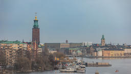 Stockholm city skyline timelapse at Stockholm City Hall, Stockholm Sweden 4K Footage