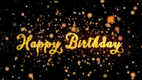 Happy Birthday Abstract particles and glitter fireworks greeting card text Animation