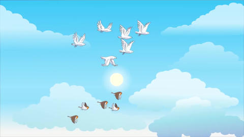 Birds flock flying comic cartoon Footage