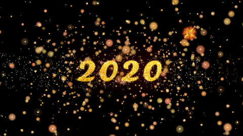 2020 Abstract particles and glitter fireworks greeting card text Animation