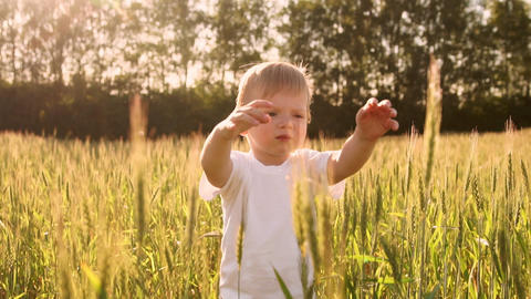 Boy in white shirt walking in a field directly into the camera and smiling in a Footage