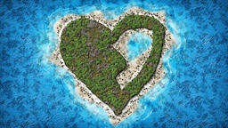 Broken Heart Shaped Island 3D illustration Fotografía