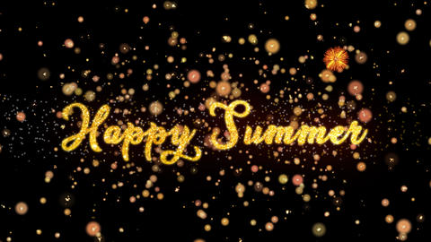Happy Summer Abstract particles and glitter fireworks greeting card text Animation