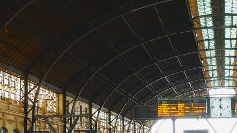 tracking shot on wrought iron roof in the north train station in Valencia, spain Footage