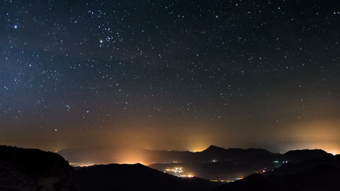 Starry night in mountains time lapse. Stars moving over countryside. Night to Live Action