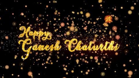 Happy Ganesh Chaturthi Abstract particles and glitter fireworks greeting card Animation