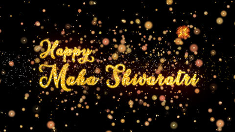 Happy Maha Shivararti Abstract particles and glitter fireworks greeting card Animation