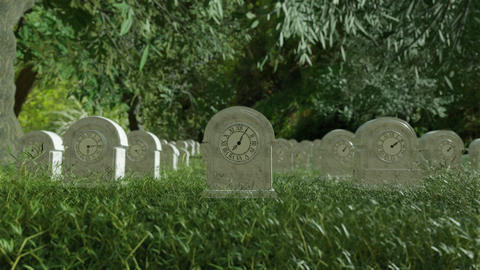 Time Life Clock Passing by in Cemetery Graveyard 영상물