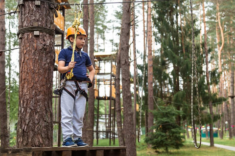 The boy is ready to go on an obstacle Photo