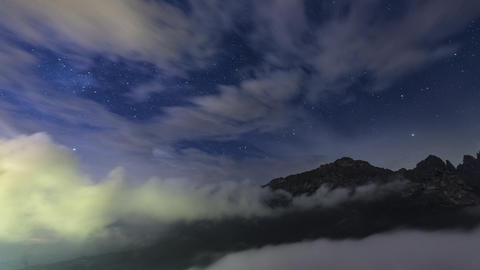 Storm Clouds and Mountains in the Night with Milky Way Live Action