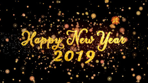 Happy New Year 2019 Abstract particles and glitter fireworks greeting card text Animation