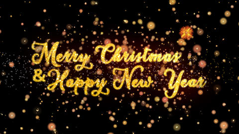 Merry Christmas & Happy New Year Abstract particles and glitter fireworks Animation