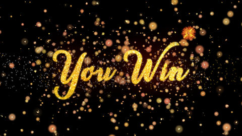 You Win Abstract particles and glitter fireworks greeting card text Animation