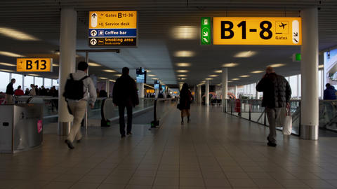 Busy male and female passengers hurrying to gate at airport terminal, trip Footage