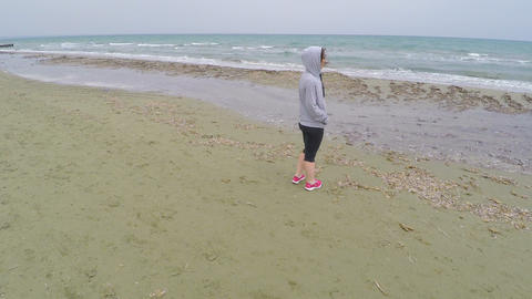 Pretty lady with curly hair enjoying amazing view on sea,… Stock Video Footage