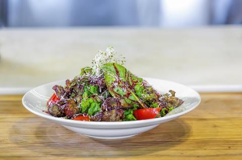 salad, liver foie gras, Salad green, restaurant, gourmet, liver フォト