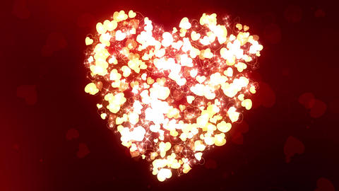 Glittering Wedding Hearts Red Animation