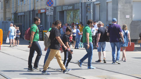 Mexican football fans on the streets of Samara Live Action