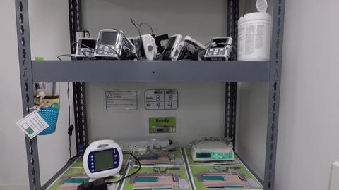 Hospital medical supply room with shelf and equipment Footage