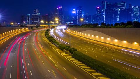 Evening Traffic on Multi-Lane Highway. Time Lapse GIF