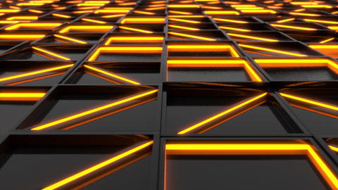 Wall of black rectangle tiles with orange glowing elements Animation