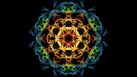 Beautiful mandala multicolored fractal, symmetric patterns in circle, red GIF