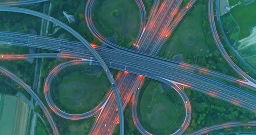 aerial view of highway interchange影片素材