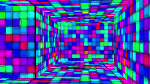 Retro Disco Lights Labyrinth 05 Stock Video Footage