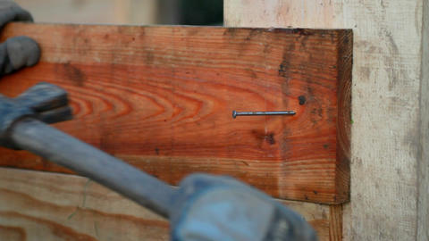A Carpenter Fixing A Nail With His Hammer stock footage