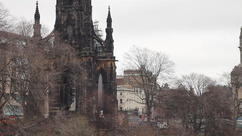 Scott Monument, Princess Street Gardens, Edinburgh Footage