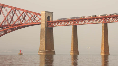 Train passing on the Forth bridge Footage