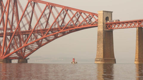 Train passing on the Forth bridge Stock Video Footage