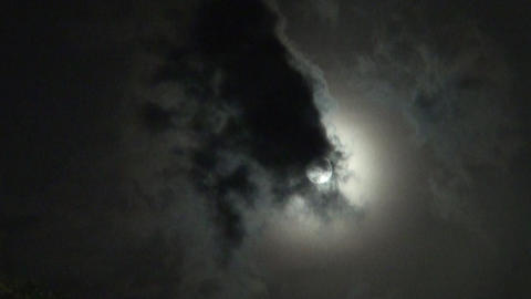 Moonlight behind Clouds - Mondlicht hinter Wolken - real... Stock Video Footage