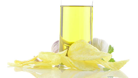 Potato chips and garlic Stock Video Footage