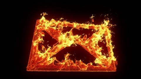 Burning Envelope Icon stock footage
