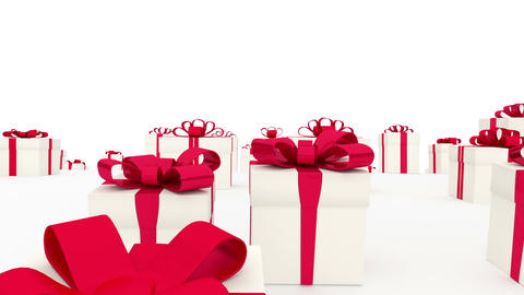 Loads of white gift boxes with red bows Animation