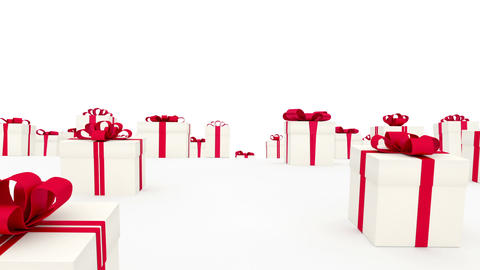Loads of white gift boxes with red bows Stock Video Footage